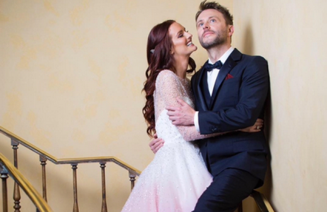 Lydia Hearst Wed Chris Hardwick in Christian Siriano.
