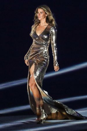 Gisele Bündchen walking the runway during the Olympics Opening Ceremony in Rio on what was billed as the world's longest fashion runway.