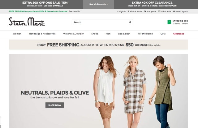 Stein Mart's new website features a more responsive design.