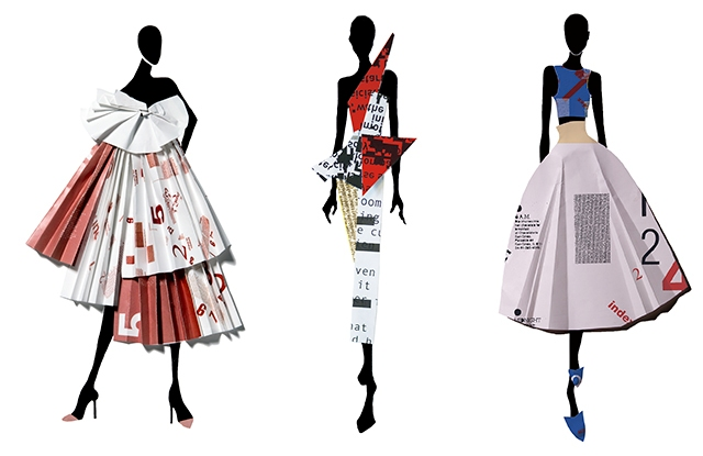 """Three student-designed  dresses from """"The Language of Fashion"""" exhibition."""