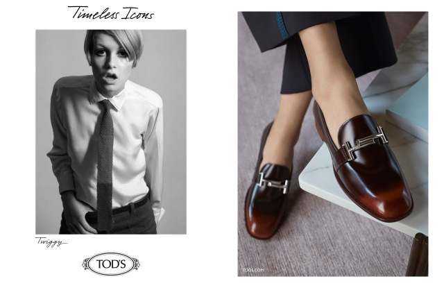 An archival image of Twiggy and a new pair of loafers in Tod's fall campaign.