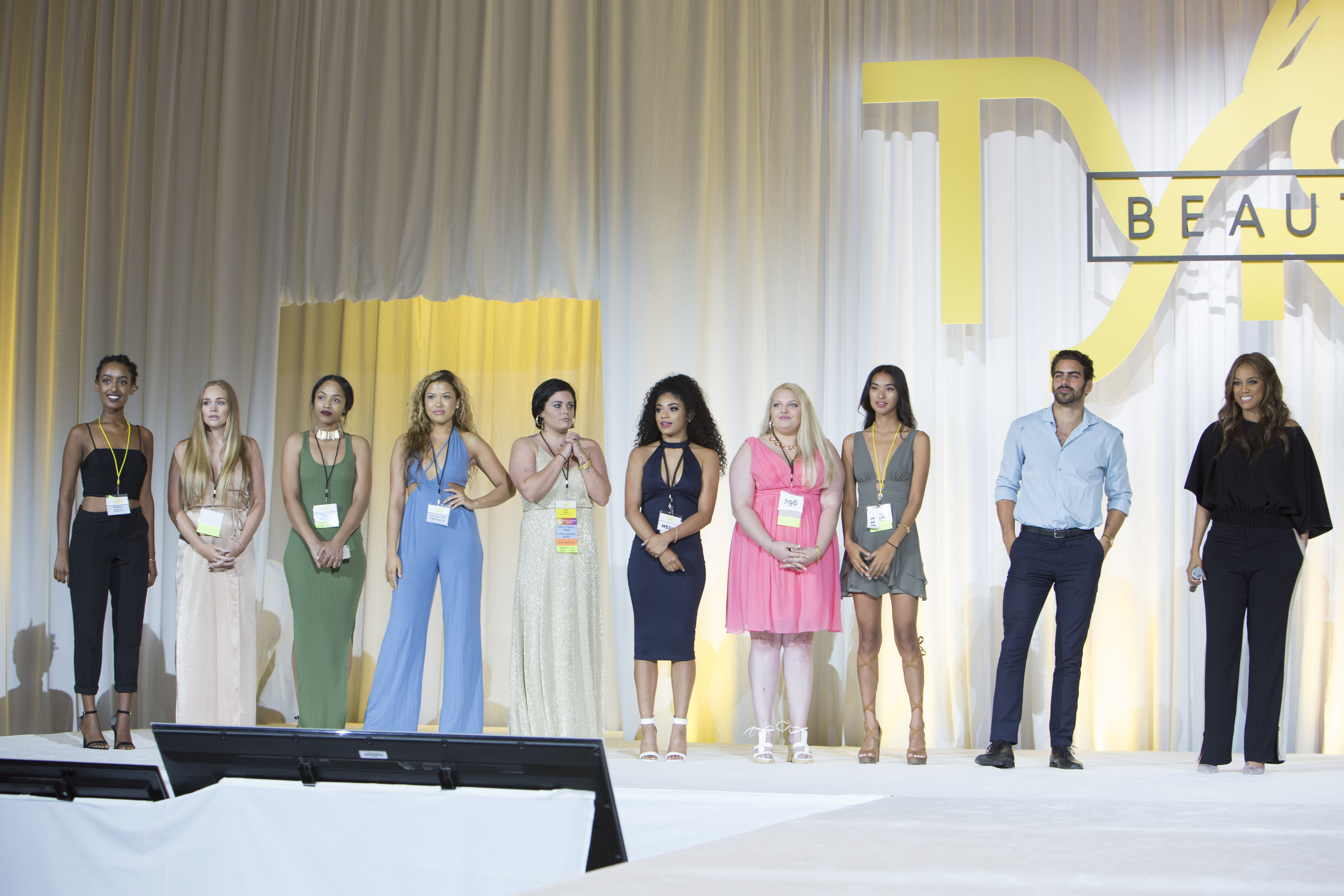 Tyra Banks announces the winners of her brand Tyra Beauty's model search.