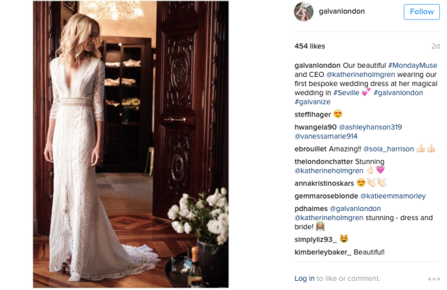 Galvan ceo Katherine Holmgren in the label's first bridal dress.