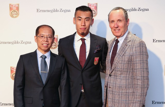 Zhang Jian, soccer player Cheng Dong Zhang and Gildo Zegna.