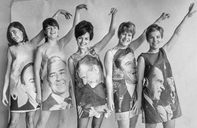 Voter fashion inspired by Hubert Humphrey, Eugene McCarthy, Nelson Rockefeller, Ronald Reagan and Richard Nixon.