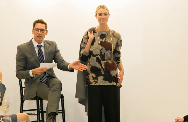 """Dan Lawson, costume designer of """"The Good Wife,"""" presents Lafayette 148 New York's fall collection to Neiman Marcus clients in Chicago."""