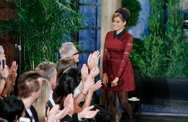 Eva Mendes takes a bow at her New York & Co. fashion show.