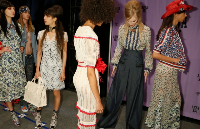 Backstage at Anna Sui RTW Spring 2017