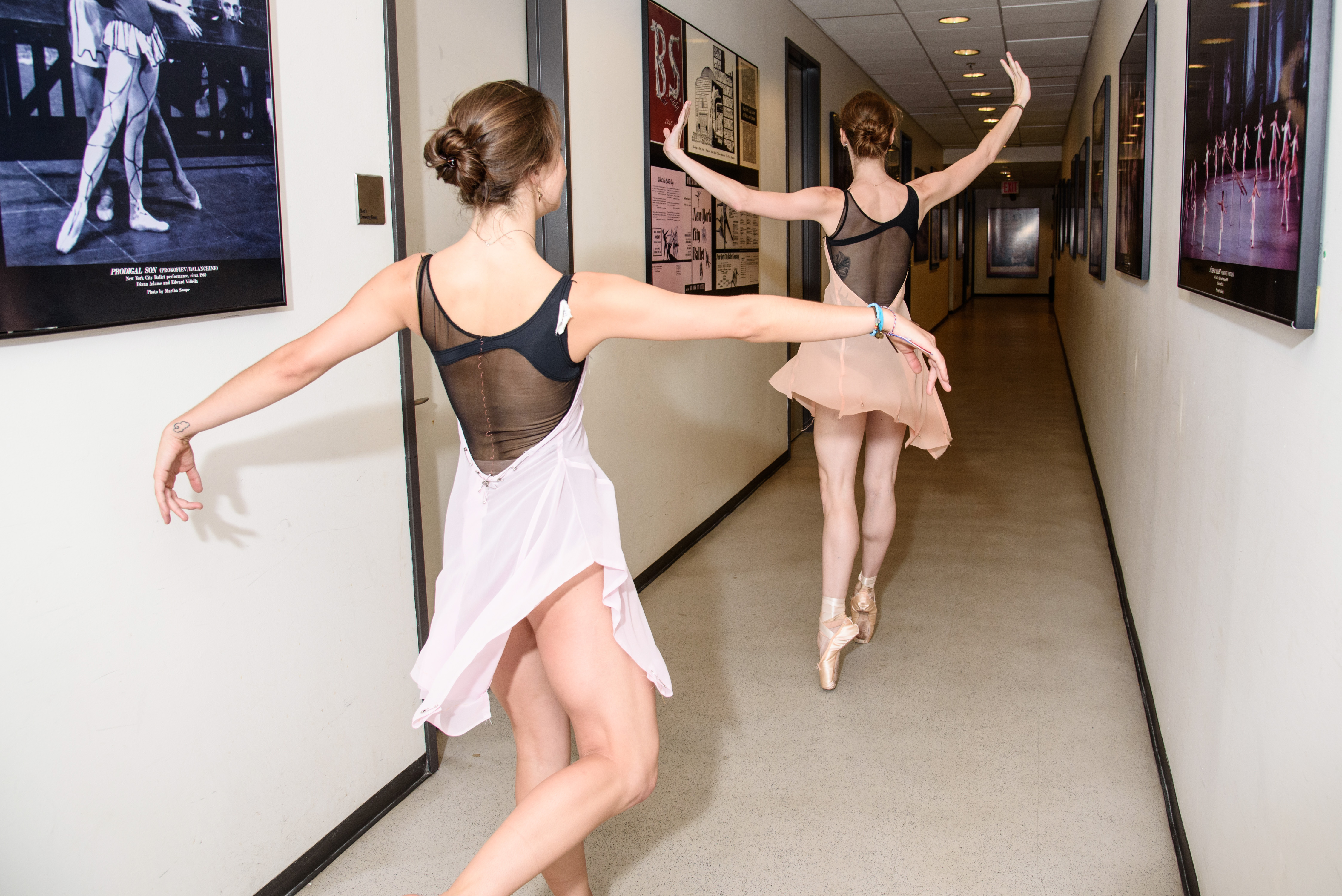 Indiana Woodward and Emilie Gerrity in the halls of NYCB.