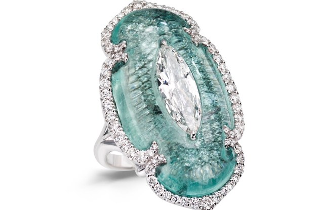Boghossian diamond and Paraiba tourmaline ring Biennale Paris