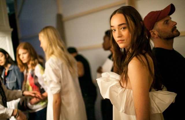 Backstage at Alexis Mabille's spring show.