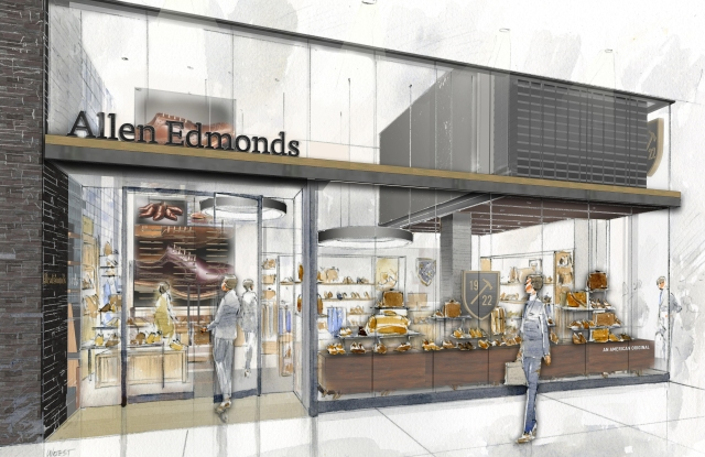 A rendering of the Allen Edmonds store set to open at Brookfield Place.