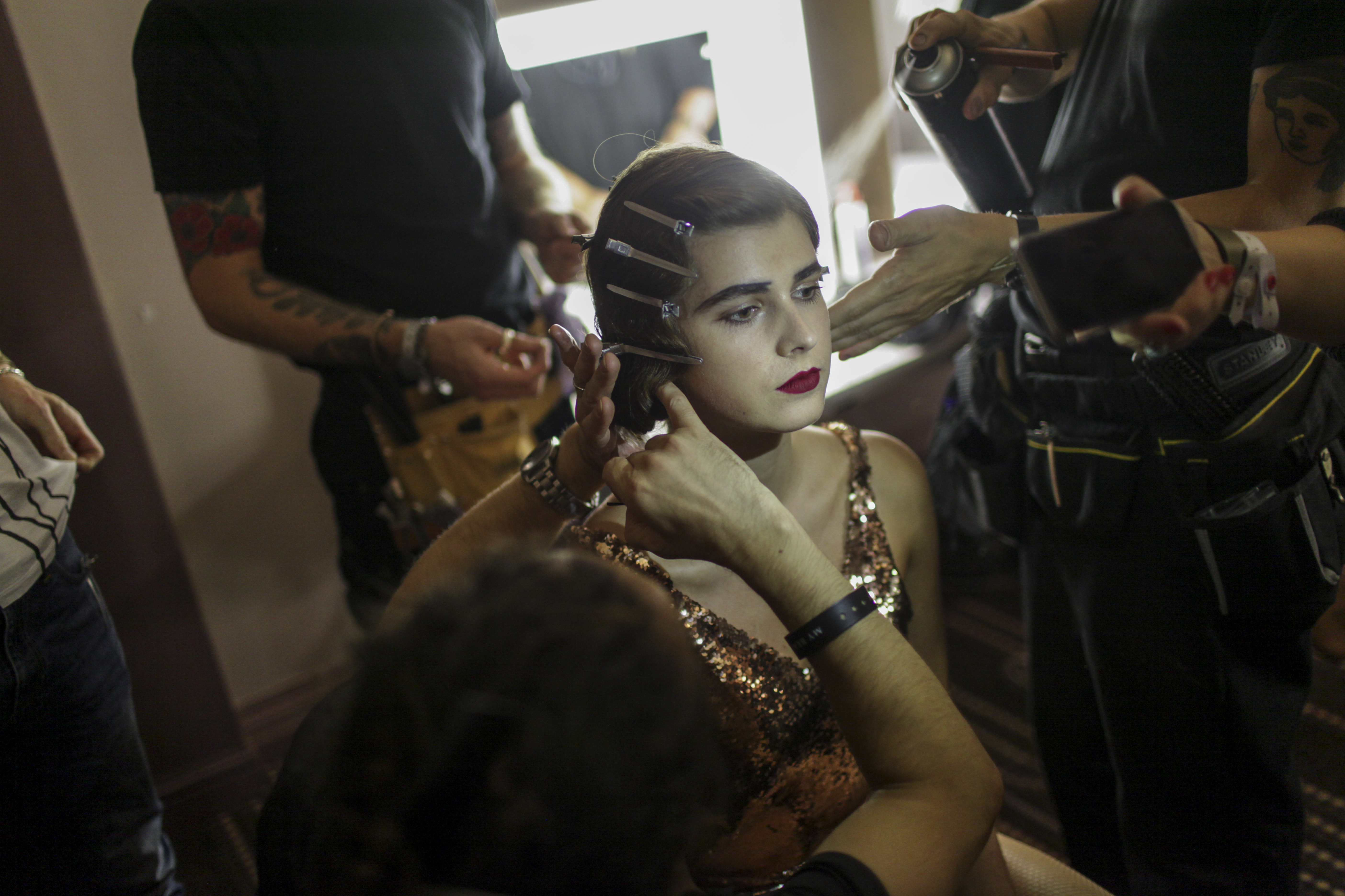 Backstage at Charlotte Olympia RTW Spring 2017