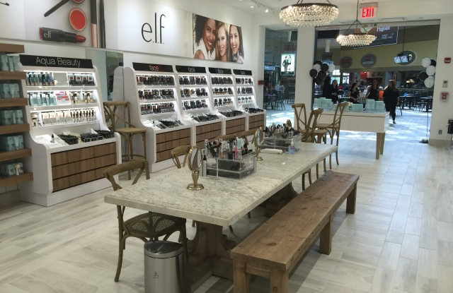 The inside of an E.l.f. Cosmetics store in Lake Grove, N.Y.