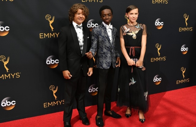 Emmy Awards 2016 Gaten Matarazzo, Caleb McLaughlin, and Millie Bobby Brown in Red Valentino