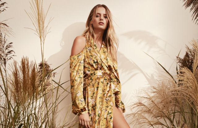 AMUR's floral wrap dress with cutouts is expected to be a key Coterie look.