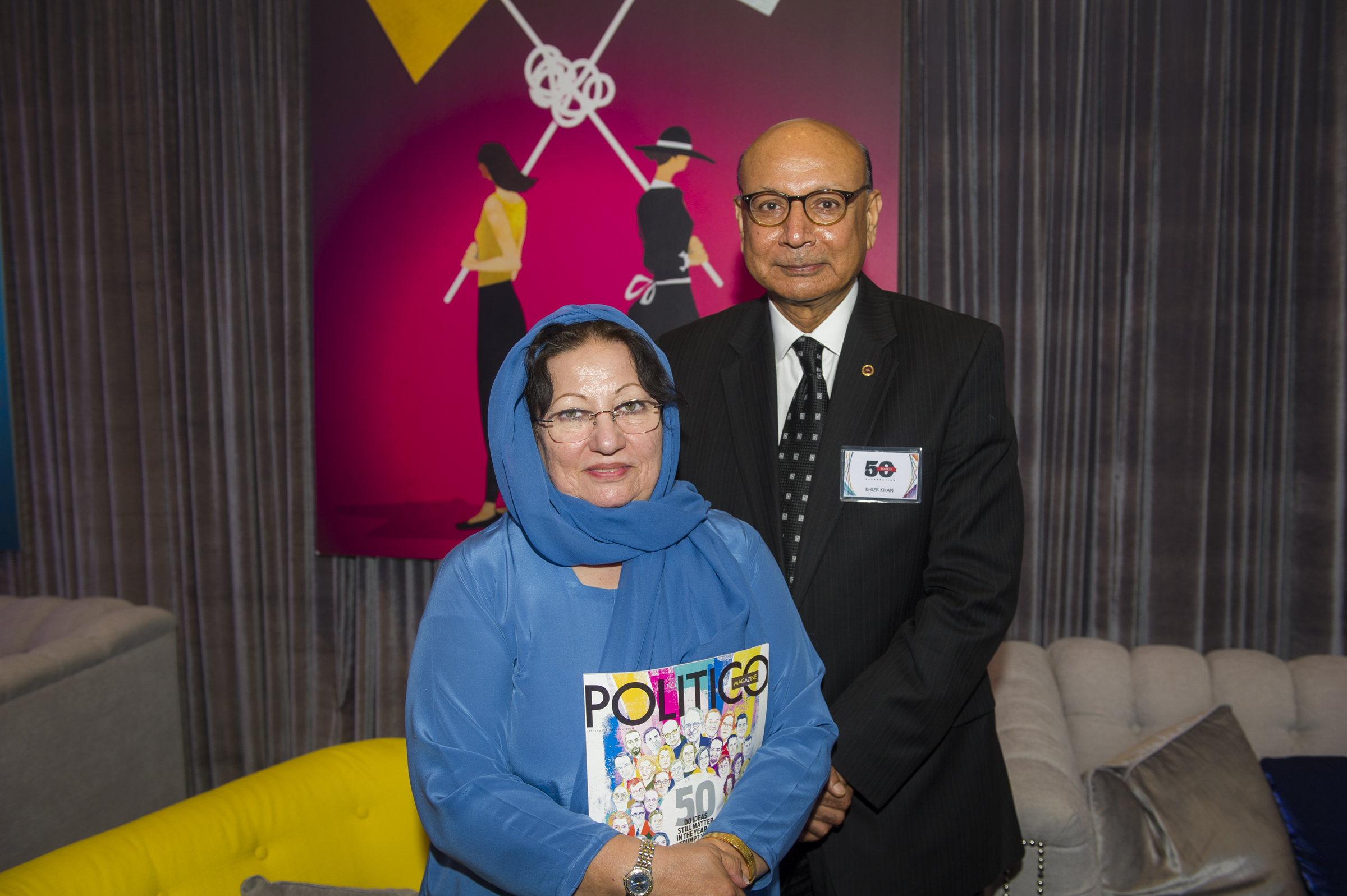 "Khizr and Ghazala Khan at the ""Politico 50"" party in Washington, D.C., on Tuesday night."