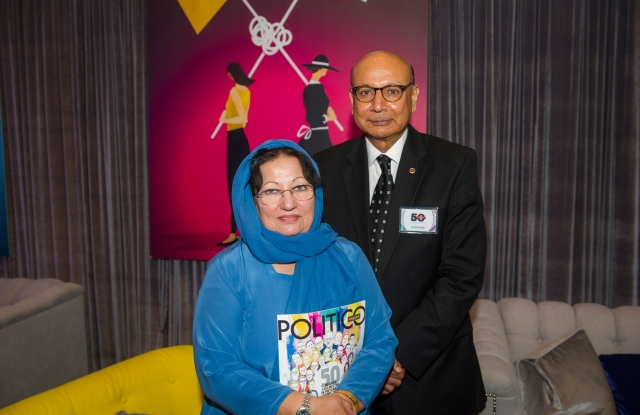 """Khizr and Ghazala Khan at the """"Politico 50"""" party in Washington, D.C., on Tuesday night."""