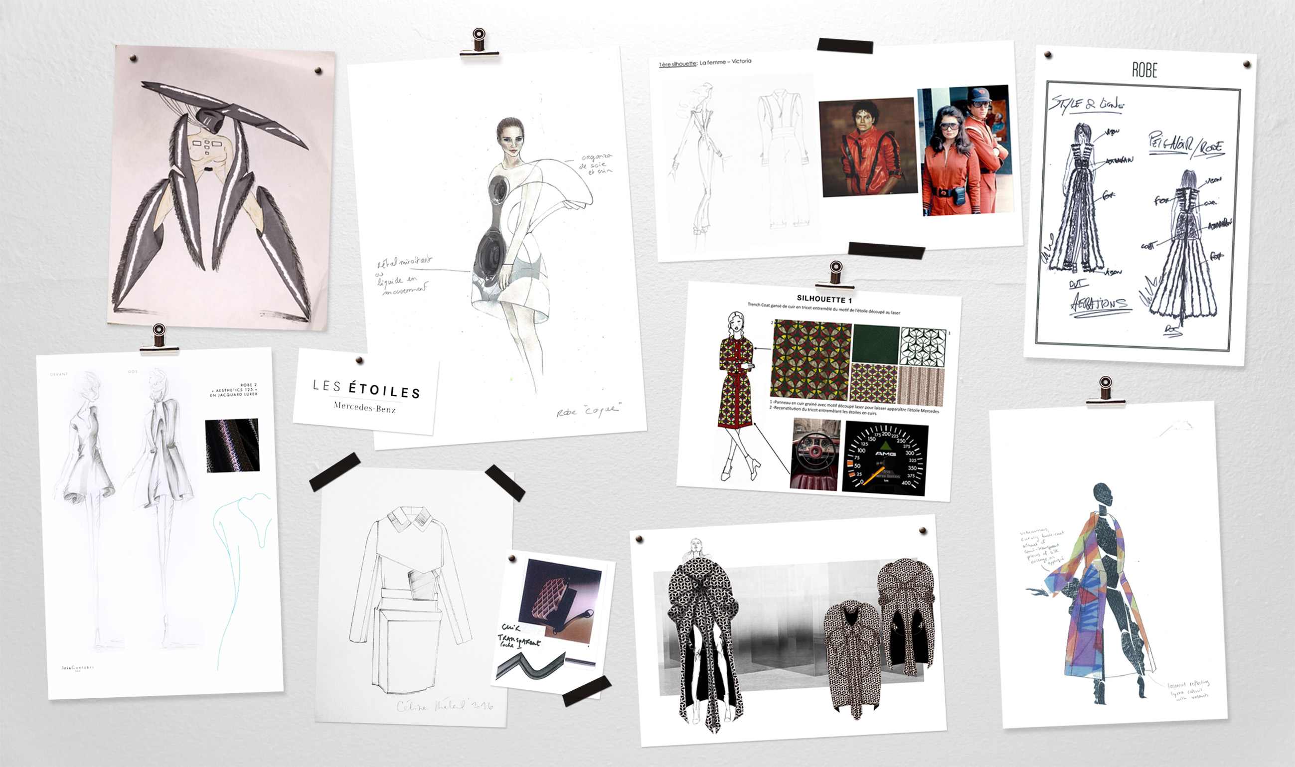The Mercedes-Benz prize candidates' sketches