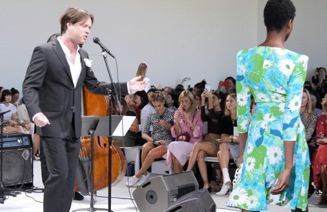 Rufus Wainwright performing at the Michael Kors Spring show.