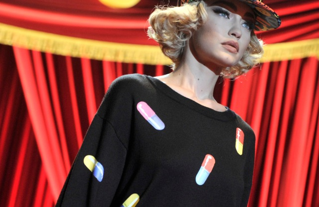 A pill-covered dress from Moschino's spring/summer 2017 capsule.