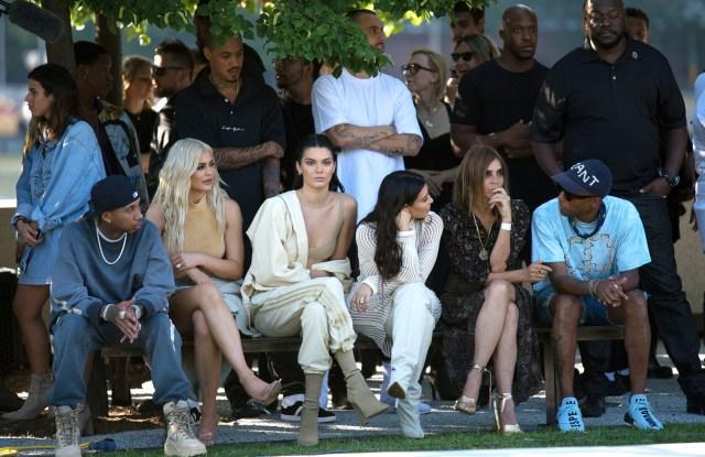 Tyga, Kylie Jenner, Kendall Jenner, Kim Kardashian and Carine Roitfeld at Yeezy Season 4.