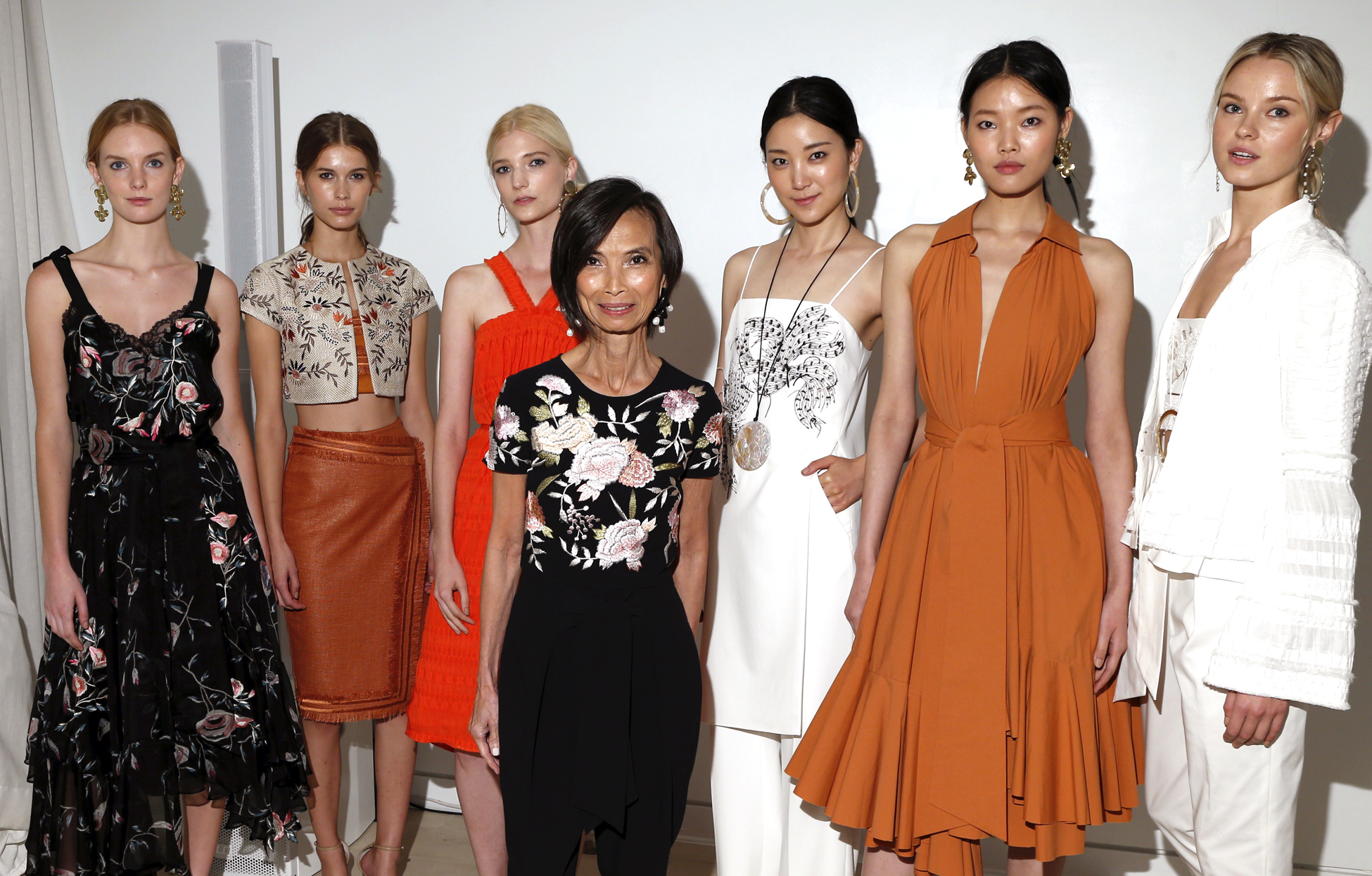 Josie Natori with models wearing looks from her Spring '17 collection.