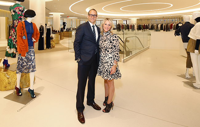 Marc Metrick and Tracy Margolies inside the downtown Saks Fifth Avenue.