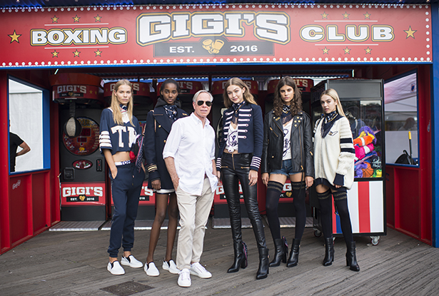 Tommy Hilfiger and Gigi Hadid with models before the Tommy Hilfiger RTW Spring 2017 show