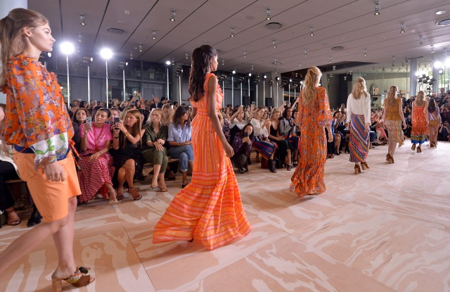 A shot from the Front Row at Tory Burch RTW Spring 2017