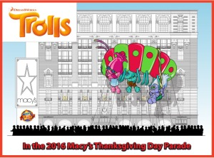 "A rendering of the ""Trolls"" balloon that will bow at the Macy's Thanksgiving Day Parade."