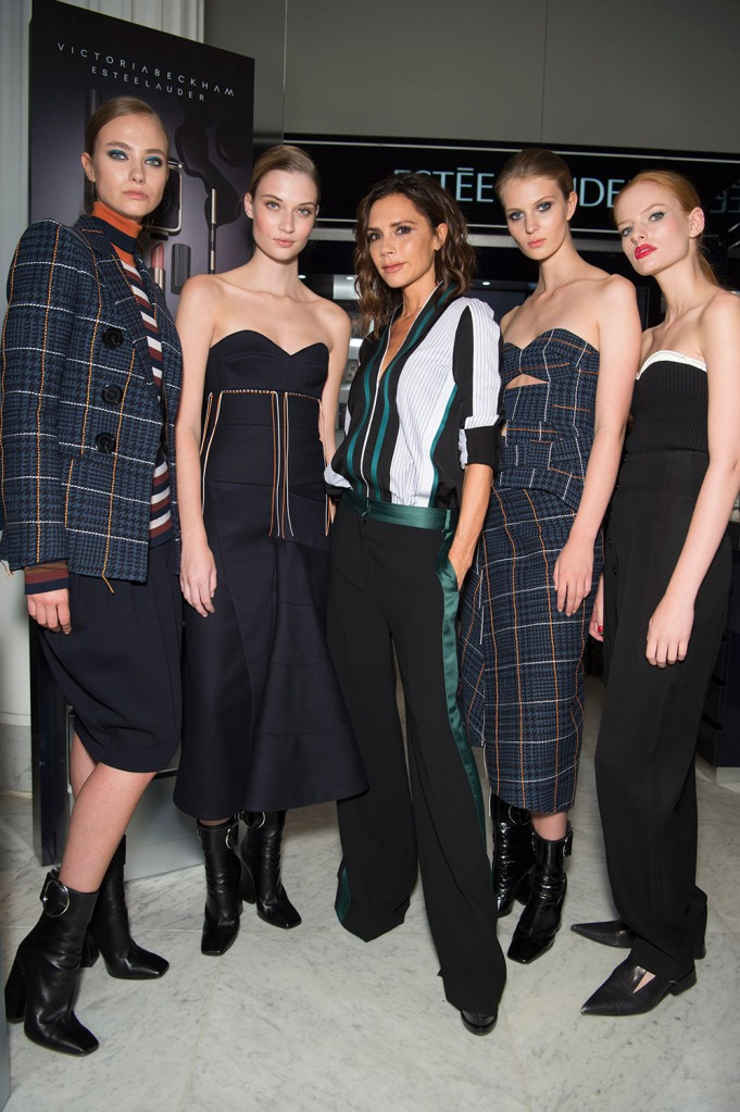 Victoria Beckham launches her makeup collection at Selfridges.