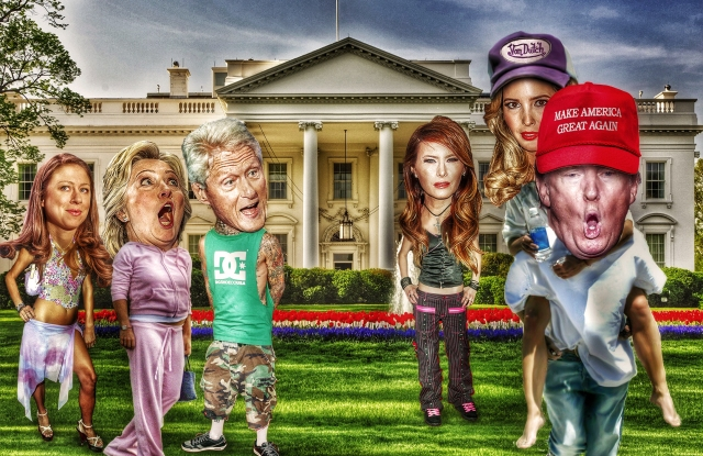 The candidates and their families wear George W. Bush-era fashions, conjuring adversarial, provocative styles that could emerge during either party's administration: From left to right: Chelsea Clinton as Paris Hilton, Hillary Clinton in Juicy Couture, Bill Clinton as Blink-182's Travis Barker, Melania Trump as Avril Lavigne, and Ivanka and Donald Trump as Britney Spears and Kevin Federline.