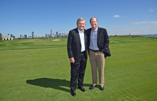 Presidents Cup captains Nick Price and Steve Stricker at Liberty National