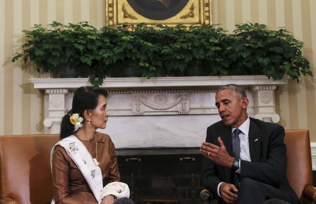 President Obama during an Oval Office meeting with Aung San Suu Kyi.
