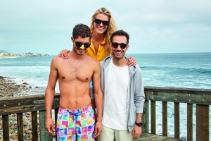 Alex Israel with model wearing his swim shorts for Vilebrequin.