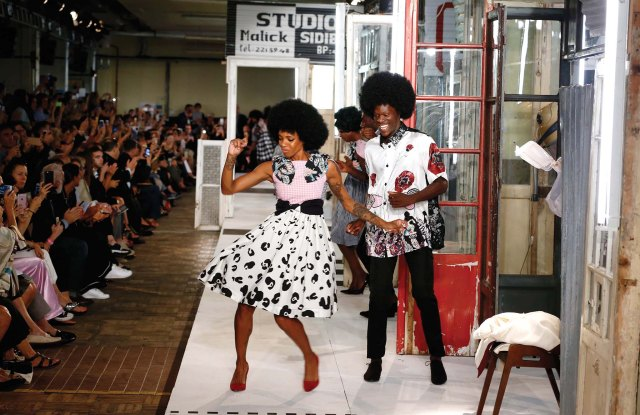 In his spring show, Antonio Marras offered a message of positivity and freedom, a celebration of cross-cultural integration. The collection was inspired by Malick Sidibé's photographs of life after Mali gained independence in 1960 — which opened the kids' eyes to rock 'n' roll, Western fashion and technology, as the older generation upheld traditions. The result: a fusion of ideas, styles and attitudes, both Old World and New, that was reflected exquisitely in the clothes and the jubilant dance party on his set.