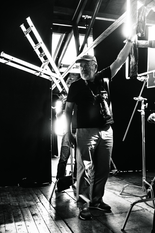 Peter Lindbergh on set in Paris, October 3, 2016.
