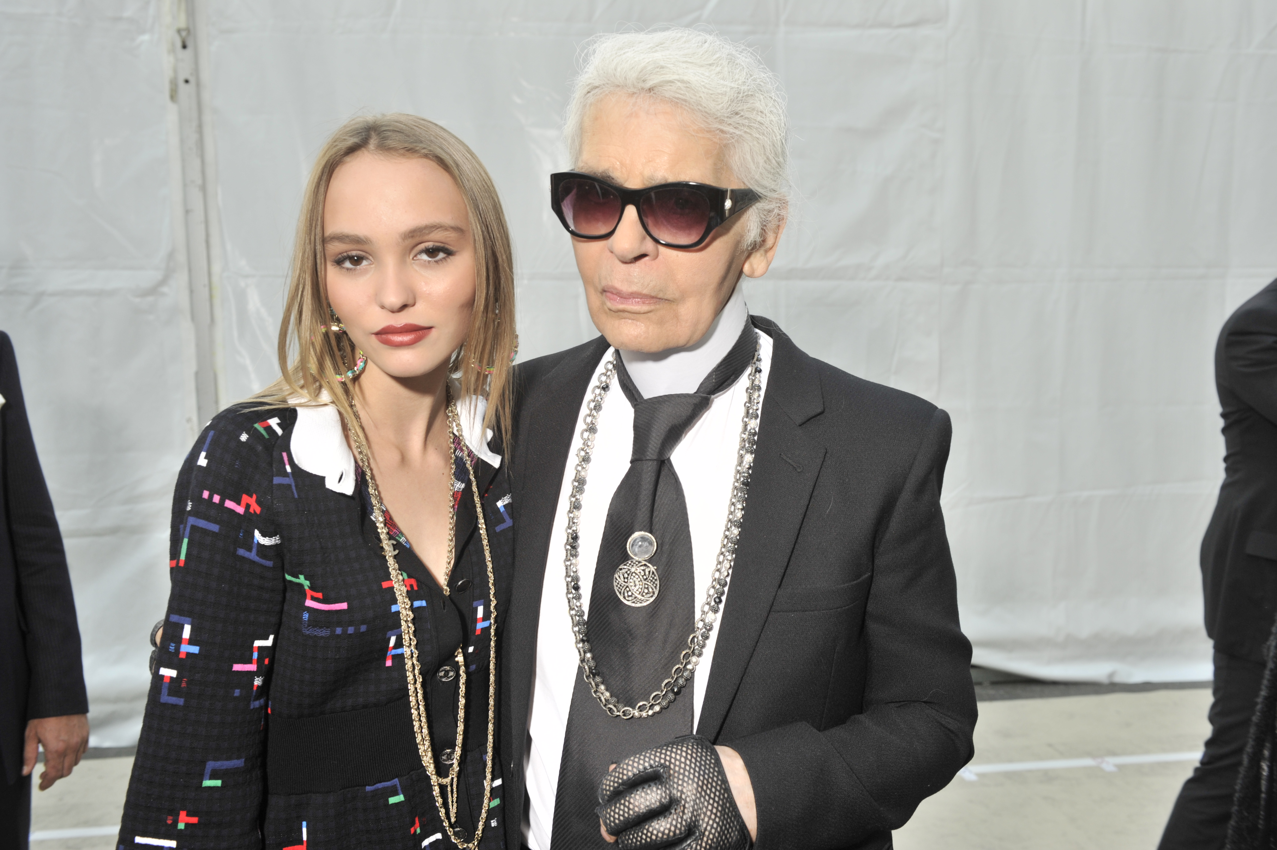 Lily-Rose Depp and Karl Lagerfeld backstage at chanel ss17