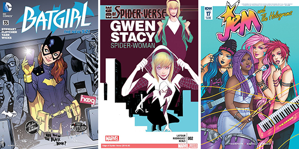 Batgirl, Spider-Gwen and Jem and the Holograms comic books