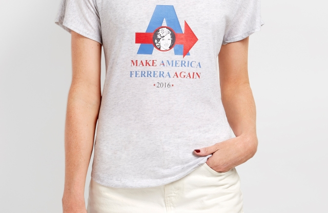 Rebecca Minkoff and America Ferrara team up on a T-shirt to encourage women to vote.