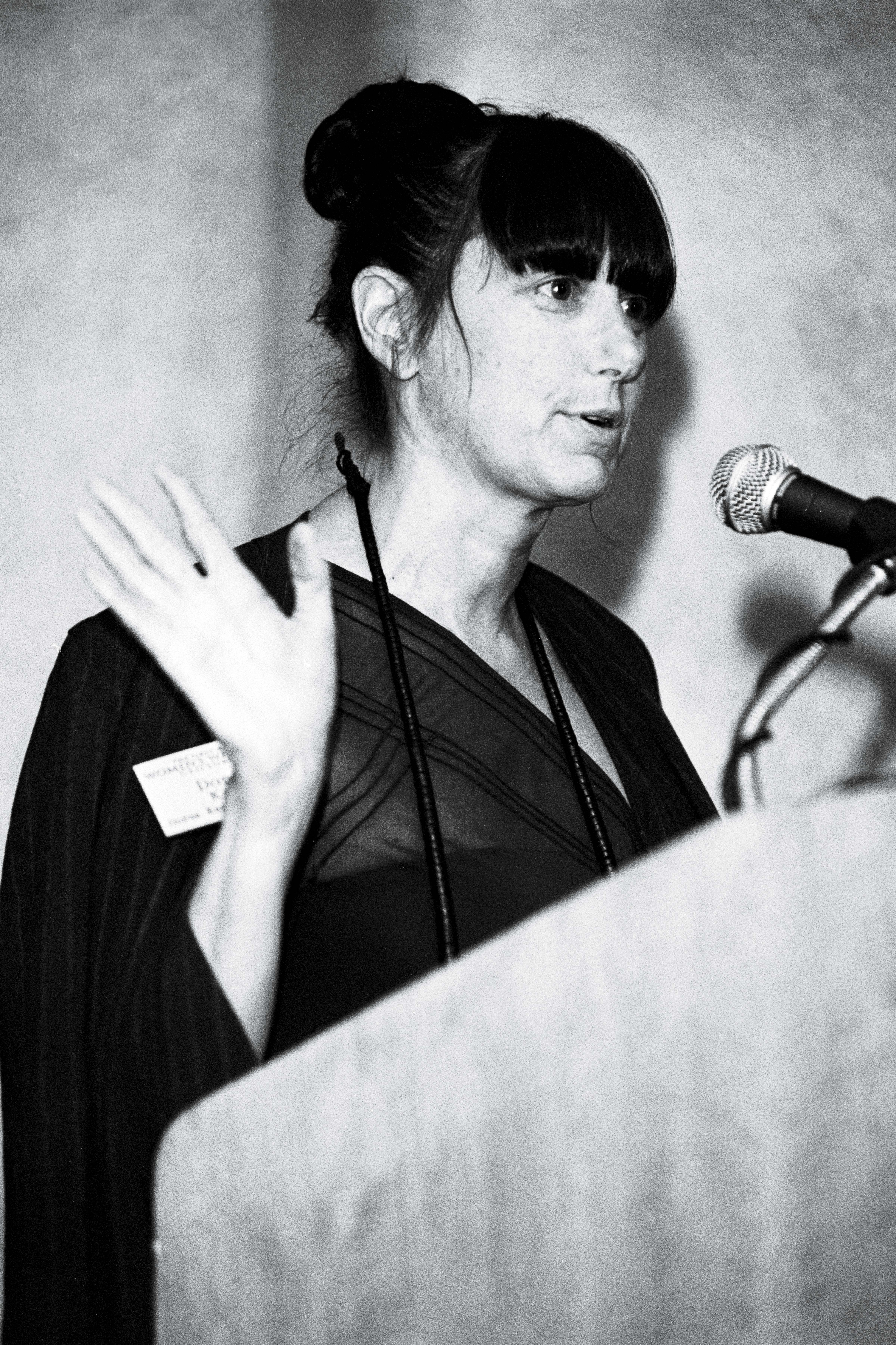 Donna Karan speaking at WWD's ceo summit in 1997.
