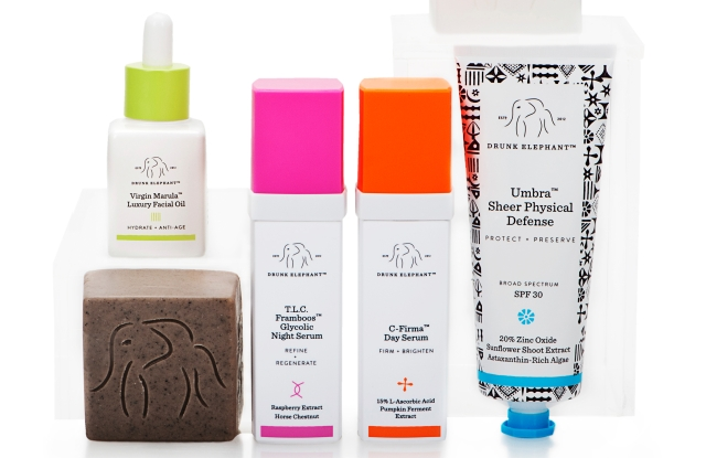 Products from Drunk Elephant's skin care range.