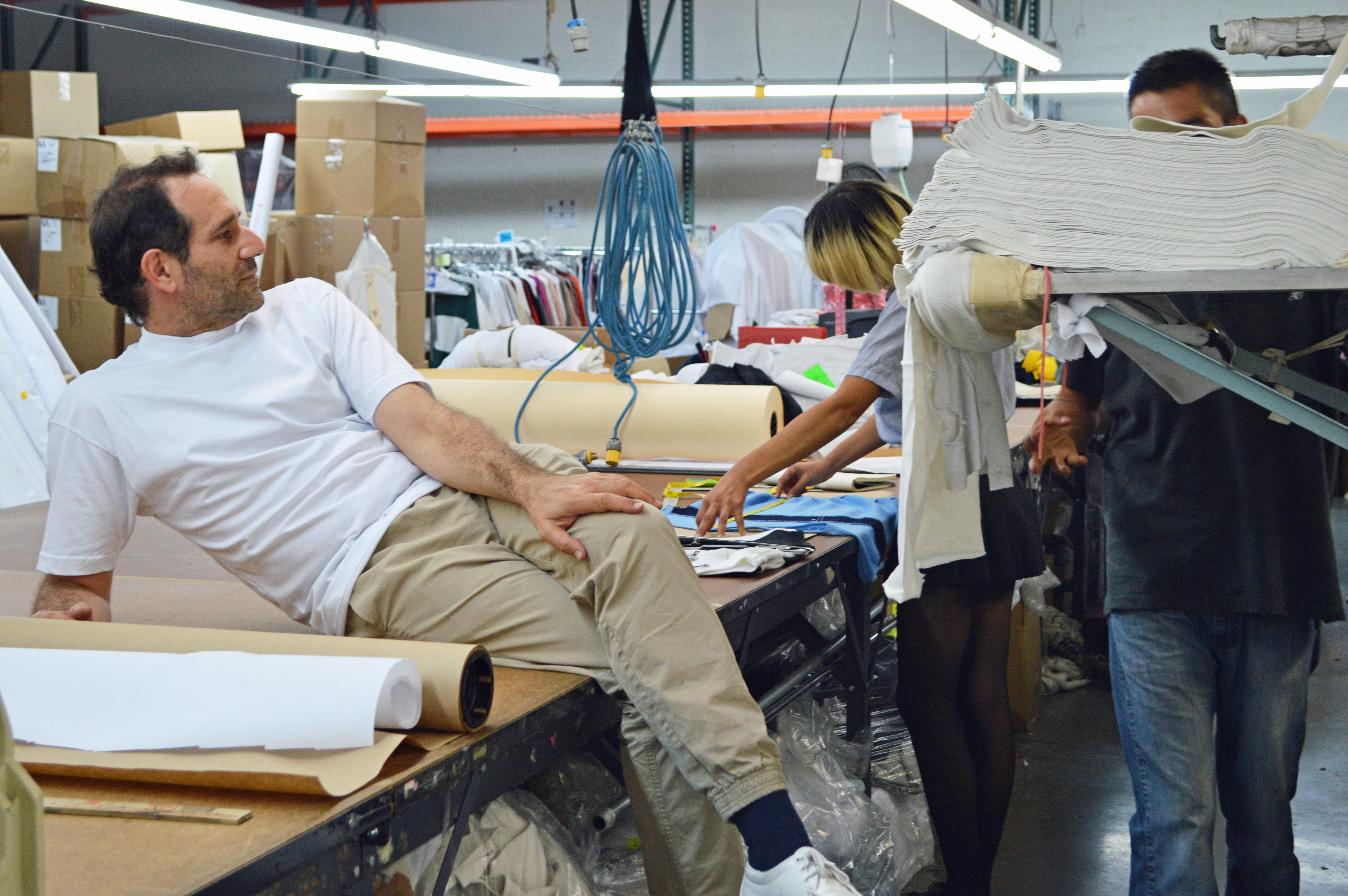 Dov Charney on South Central factory floor