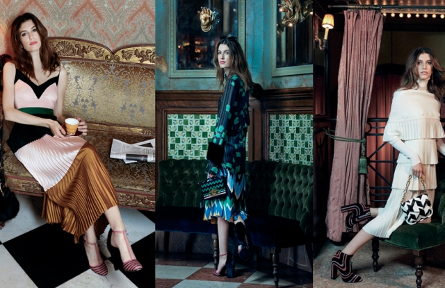Three of the Ferragamo ready-to-wear looks that are being sold online.
