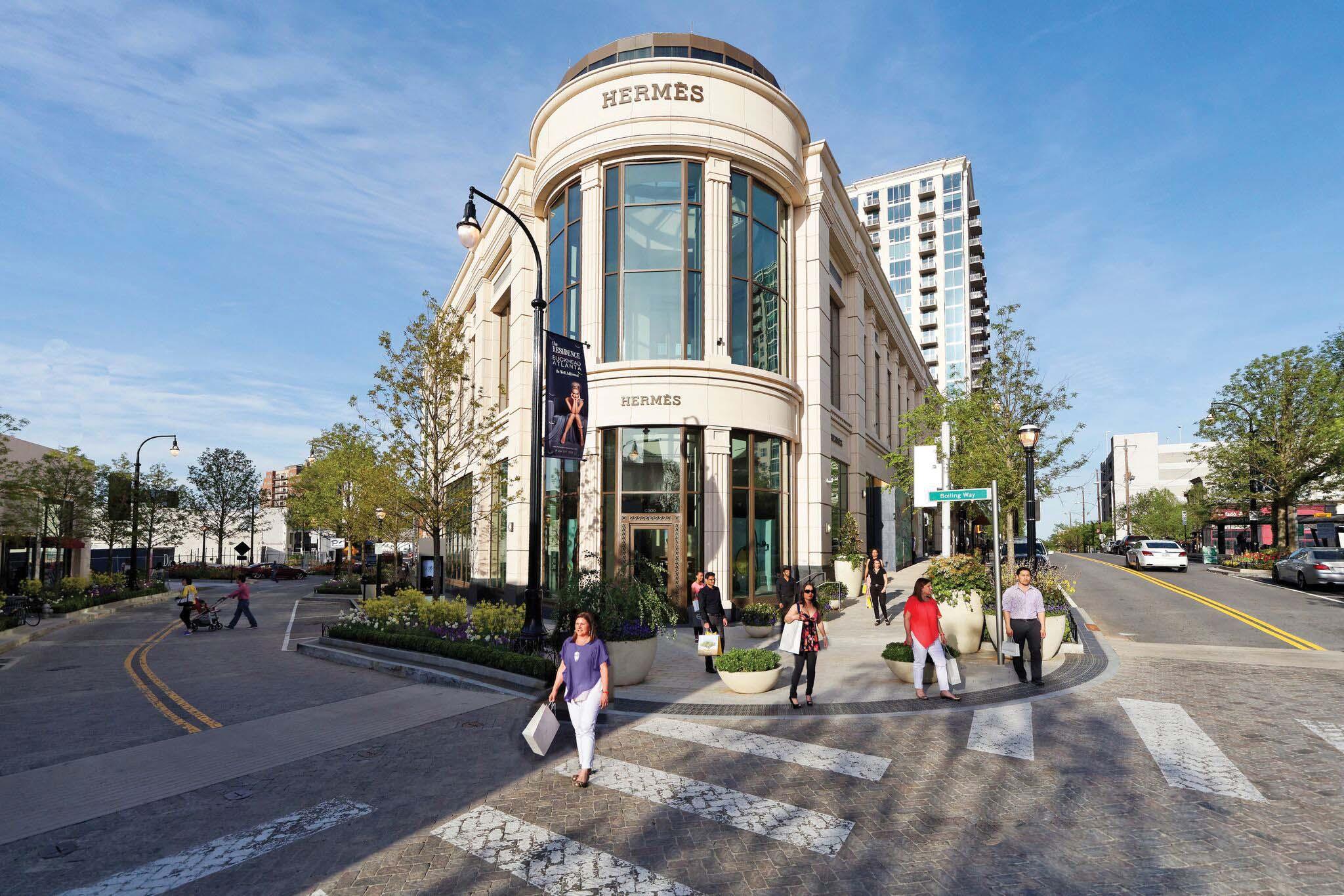 The shops at Bulkhead Atlanta is home to high-end retailers like Hermès.