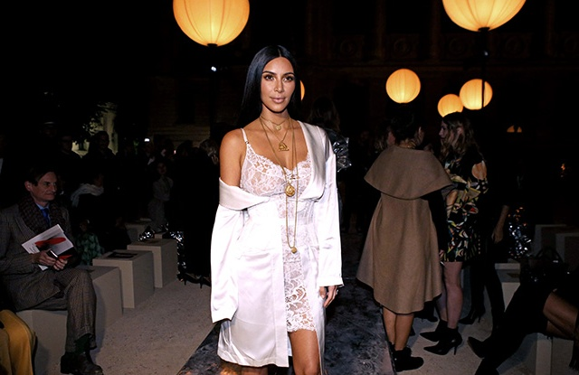 Kim Kardashian attends the Givenchy spring show in Paris.