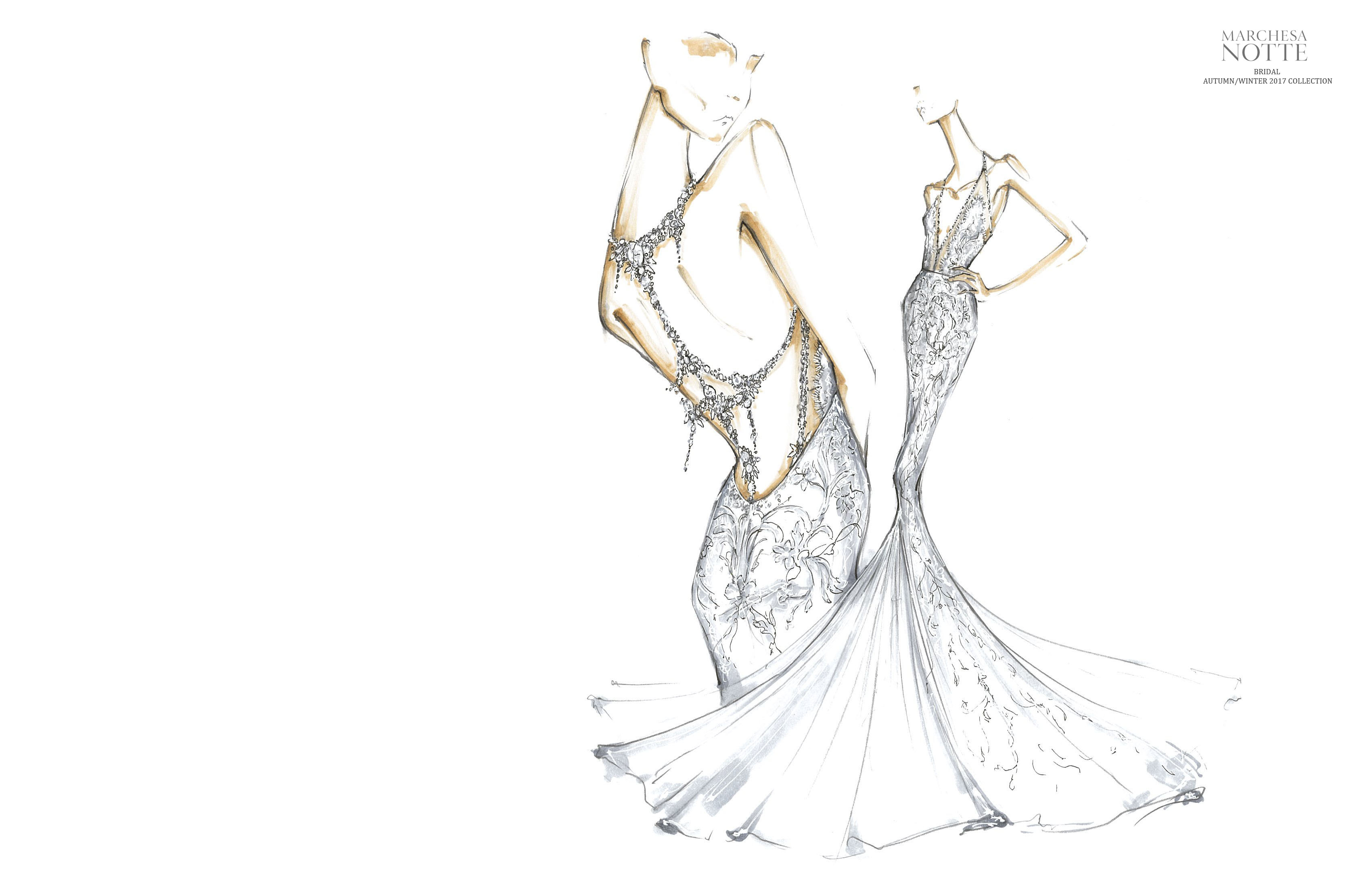 A sketch from the fall 2017 Marchesa Notte bridal collection.