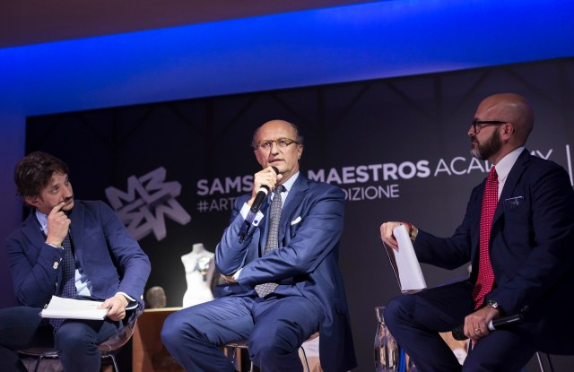 Paolo Zegna speaking at Samsung Maestros Academy's press event.