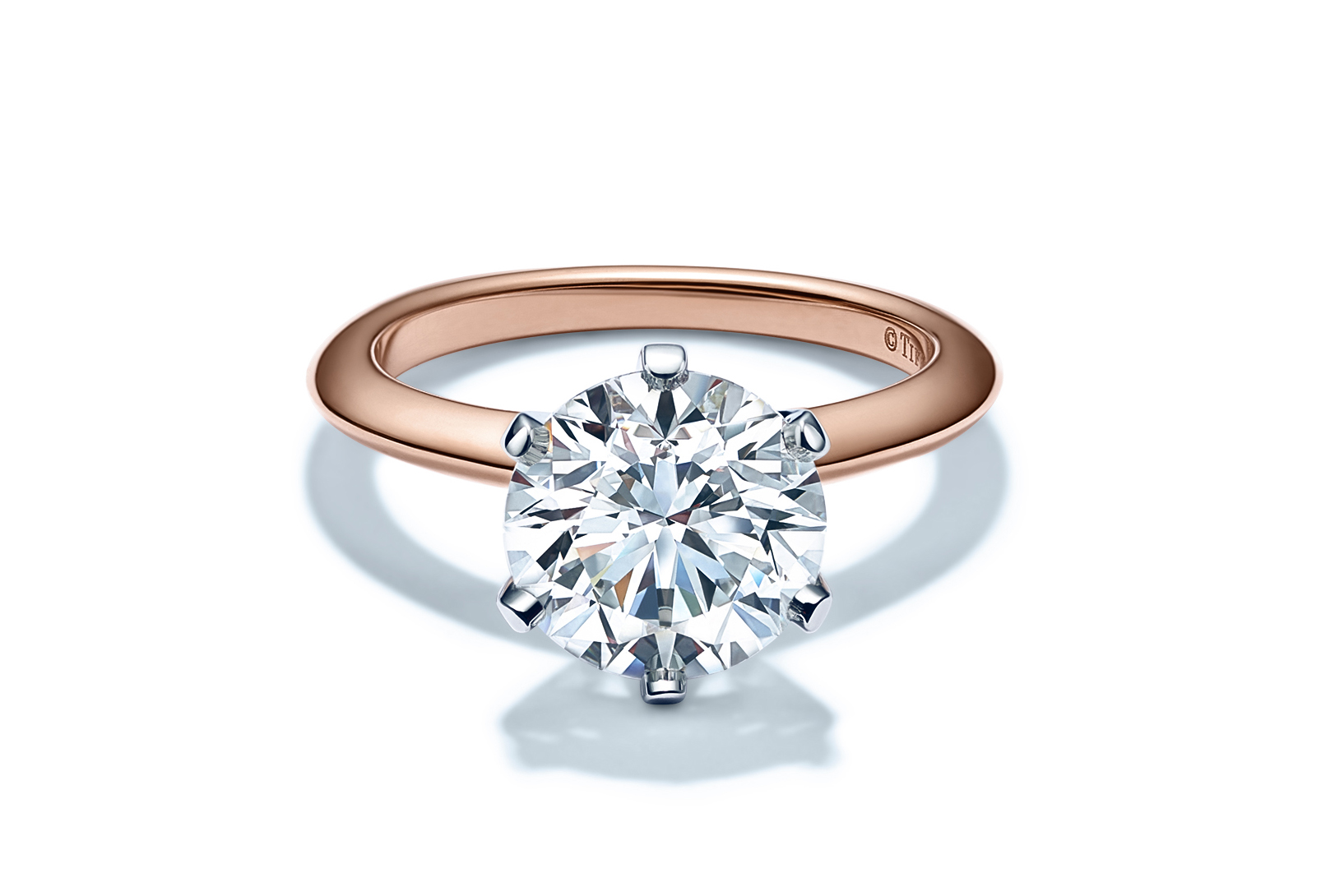 The new Tiffany Setting engagement ring in 18-karat rose gold.